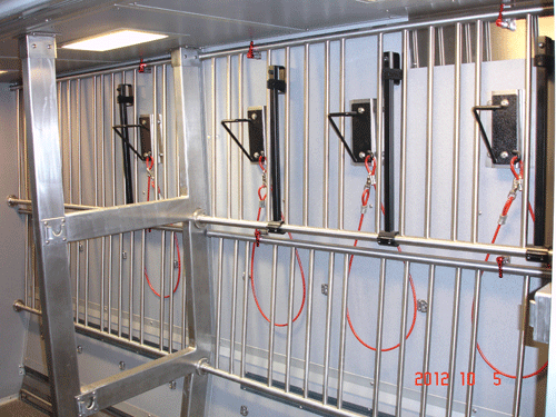 Each bike storage area can hold about a dozen bicycles.