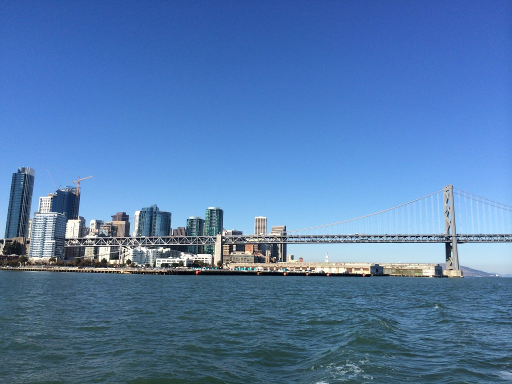View of the Bay Bridge and San Francisco from the Potomac.