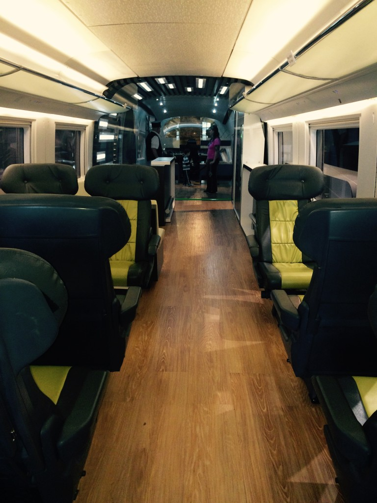 Siemens mock-up showing the interior of a high speed rail car.