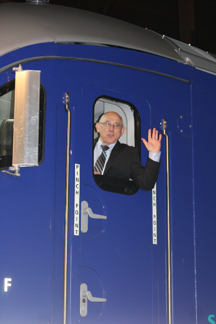 Dave Ward waves from the Siemens diesel-electric locomotive.