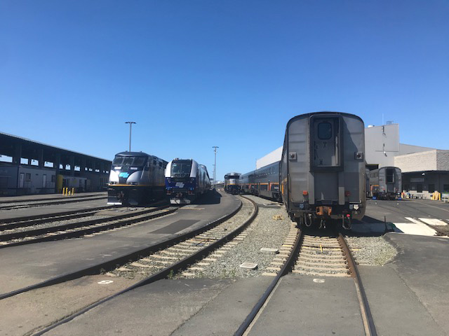 Capitol Corridor trains in the maintenance yard