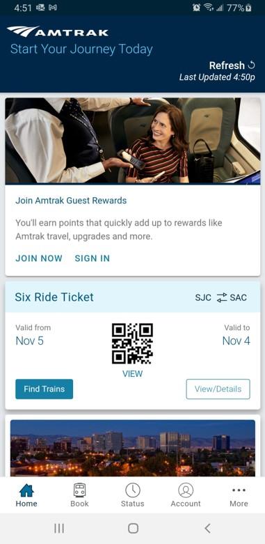 Amtrak mobile app