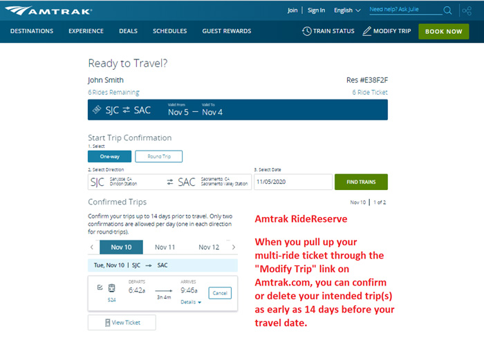 RideReserve screenshot on Amtrak.com