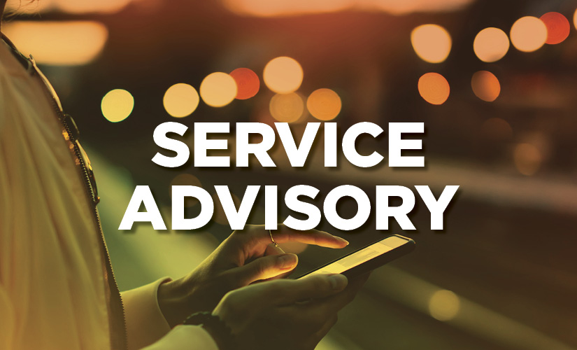 Service Advisory for Presidents' Day Long Weekend