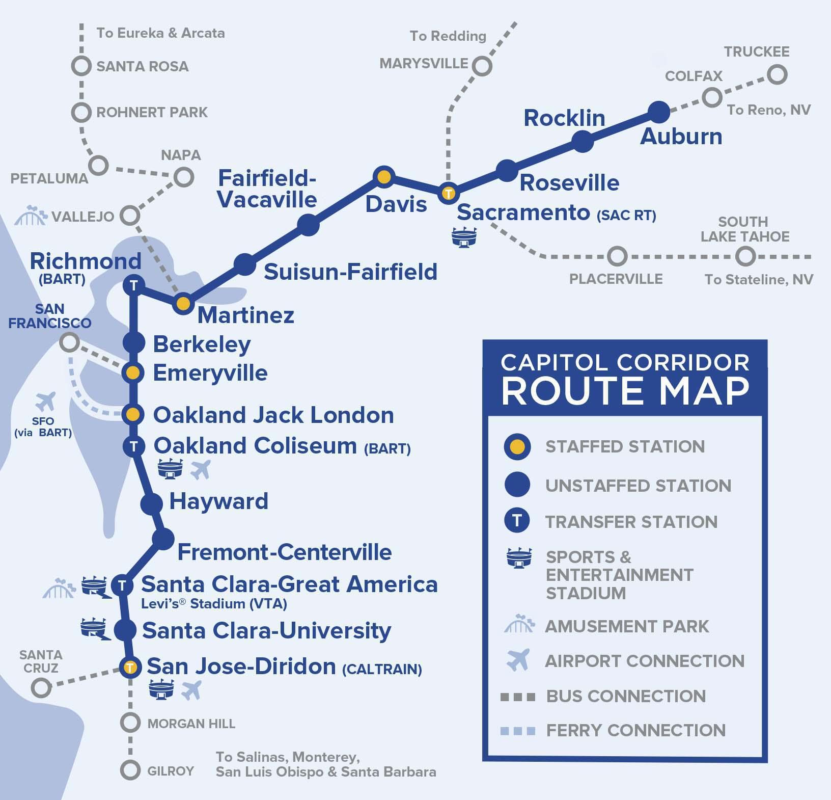 Capital Corridor Train Route Map for Northern California